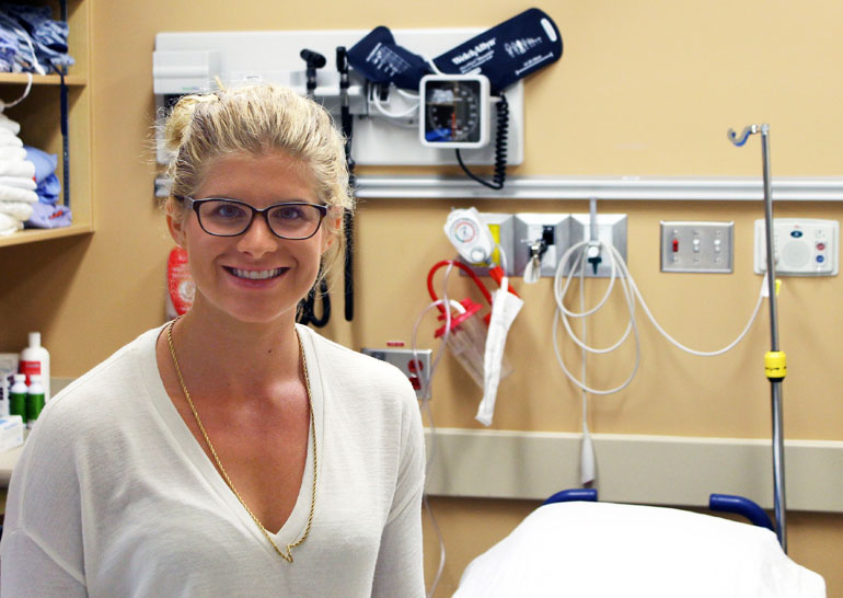 Second year UBC medical student Hannah Duyvewaardt spent the summer keeping track of requisitions for CT scans at Kelowna General Hospital as part of a study to determine if guidelines for CT scans are being followed by emergency room doctors.