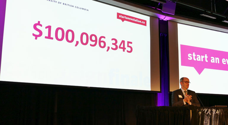 Ross Langford, Okanagan chair for UBC's Start an Evolution campaign, announced the campaign's fundraising total at a closing ceremony on Saturday at UBC Okanagan.