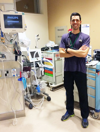 Emergency room nurse Adam Fulton, a UBC School of Nursing graduate, is now working on his master's degree while continuing with his career.