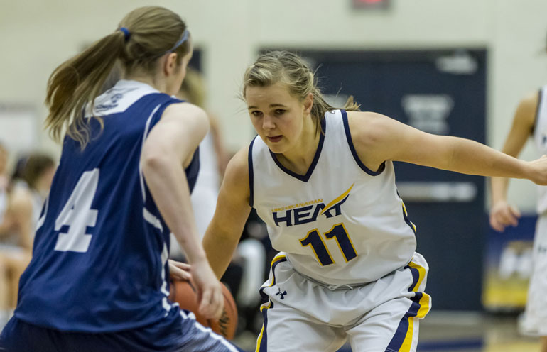 Heat women's basketball player Emma Johnson is earning her Bachelor of Science in Nursing degree at UBC's Okanagan campus. Johnson is this year's winner of the annual Capri Insurance Athletics Entrance Scholarship award. Courtesy of GreyStoke Photography.