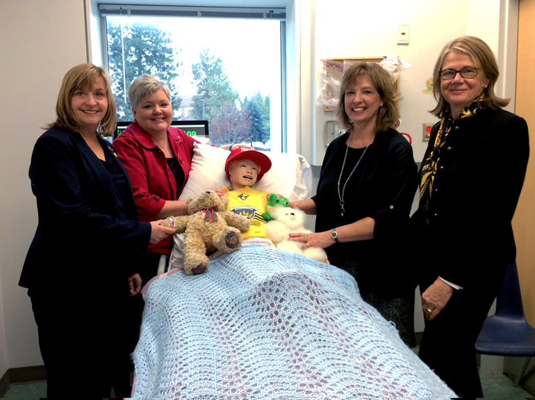 : From left: Kathy Butler, Executive Director, Okanagan College Foundation and Director; Lisa Kraft, Associate Dean for Science, Technology and Health, Okanagan College; Sheila Epp, Acting Director School of Nursing, UBC Okanagan; UBC Deputy Vice-Chancellor and Principal Deborah Buszard.