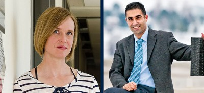 From left: Miranda Hart, associate professor of biology, and Abbas Milani, associate professor of engineering.