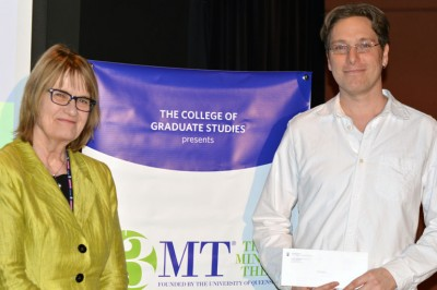 Miriam Grant, left, congratulates UBC Okanagan 3MT winner Mike Unrau.