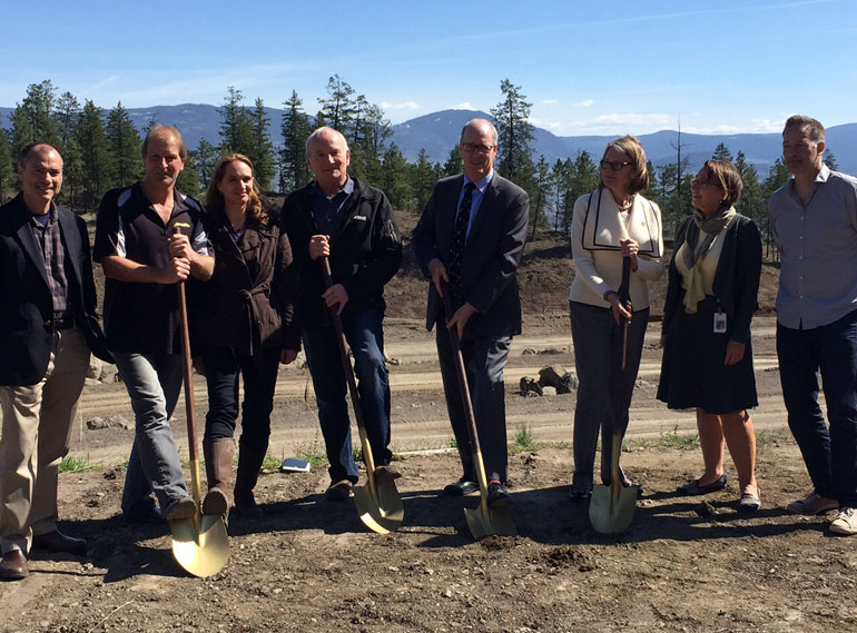 BREAKING GROUND: A research partnership involving partners from industry has broken ground in Kelowna. From left, MLA Norm Letnick, Scott Tyerman of AuthenTech Homes, Karin Eger-Blenk and Russ Foster of the Blenk Development Corp., Jim Hamilton of Okanagan College, Deborah Buszard of UBC Okanagan, Carol Suhan of FortisBC, and MP Stephen Fuhr helped mark the occasion.
