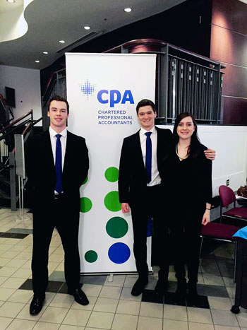 UBC Faculty of Management students Cat Bootle, Michael Bitcon and Brad Curtiss won $2,000 and the first-place title at the CPABC Case Competition.