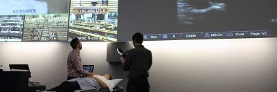 A portable ultrasound machine in use during an anatomy lecture presented at UBC Okanagan and video conferenced to medical students in Vancouver, Prince George and Victoria.
