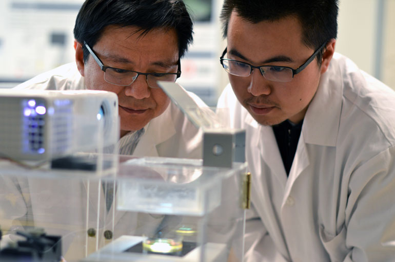 Assist. Prof. Keekyoung Kim (left) examines a tissue sample with student Zongjie Wang.