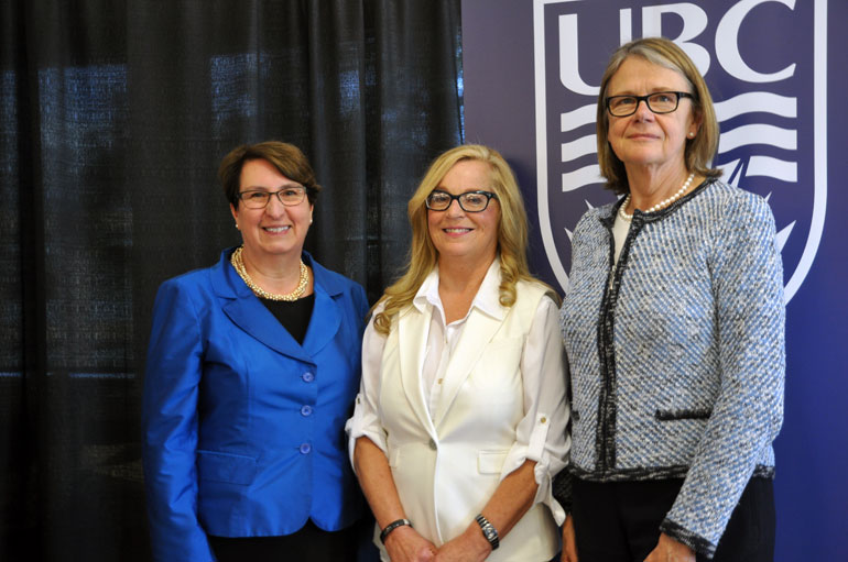 Mary Ann Murphy, centre, who teaches in the Irving K. Barber School of Arts and Sciences and the School of Social Work, was awarded a 2016 Teaching Excellence and Innovation award.