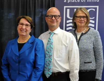 Zach Walsh, assoc. professor of psychology in the Irving K. Barber School of Arts and Sciences, was also awarded a 2016 Teaching Excellence and Innovation award. He is pictured with Cynthia Mathieson, left, and Deborah Buszard