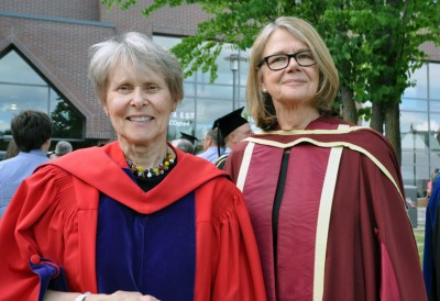 Dr. Roberta Bondar and UBC Deputy Vice-Chancellor and Principal of the Okanagan campus Deborah Buszard pose together after Thursday's ceremony.