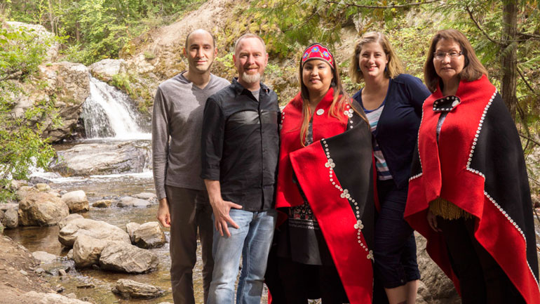 UBC professor Christine Schreyer, (second from right) has combined her passion for restoring languages with her Hollywood connections. While working on her new documentary, she brought film director Britton Watkins, cinematographer Josh Feldman together with Nicole Gordon and Louise Gordon with the Taku River Tlingit.