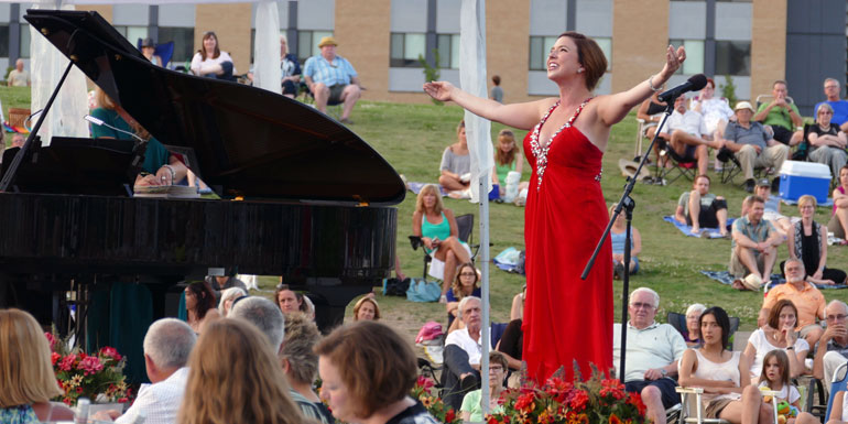 Opera Kelowna soprano Chelsea Rus performed at UBC Okanagan during last summer's Opera Under the Stars concert. Rus, a 2014 graduate from UBC Opera's Bachelor of Music program, won the prestigious 2016 Wirth Vocal Prize, and recently completed a master's program at McGill University's Schulich School of Music.