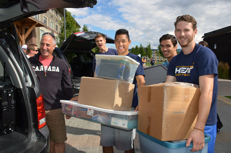 Heat athletes make move-in day a breeze, as parent Bruce Pollock discovered during a previous Move-in Day at UBC's Okanagan campus.