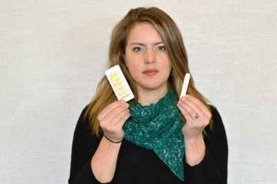 UBC's Heather Gainforth holds a nicotine inhaler, a popular tool with people trying to quit smoking.