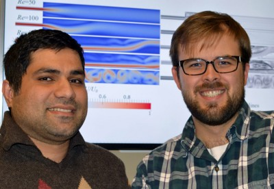 UBC PhD candidate Nima Moallemi (left) and Assistant Professor Joshua Brinkerhoff used computer simulations to improve wastewater filtration.
