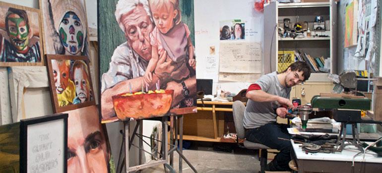 UBC fine arts graduate Dylan Raney in his studio.