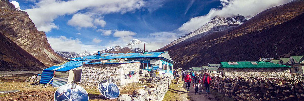 Members of the UBC research team trek to the Pyramid International Laboratory/Observatory at the base of Mount Everest