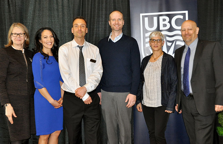 UBC Okanagan Deputy Vice-Chancellor and Principal Deborah Buszard (far left) and UBC Okanagan Vice-Principal Research Philip Barker (far right) congratulate award-winning researchers Mary Jung, Jonathan Holzman, Mike Deyholos, and Susan Frohlick.