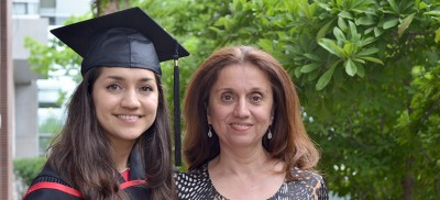 Bahar Heydari's (left) experience at UBC Okanagan inspired her mother (Mandana Heydari, right) to consider graduate studies at the Faculty of Management.