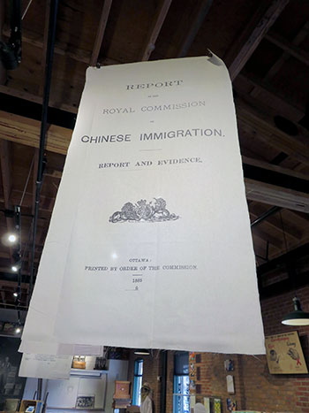 A copy of the Royal Commission on Chinese Immigration is on display at the Okanagan Wine and Orchard Museum as part of a UBC student-led research project.