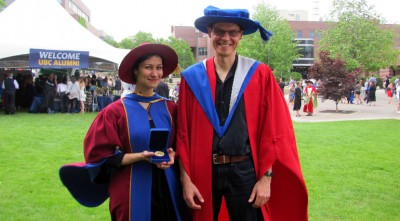 Newly-minted PhD grad Walaa Moursi and her PhD supervisor Professor Heinz Bauschke celebrate her Governor General gold medal award.