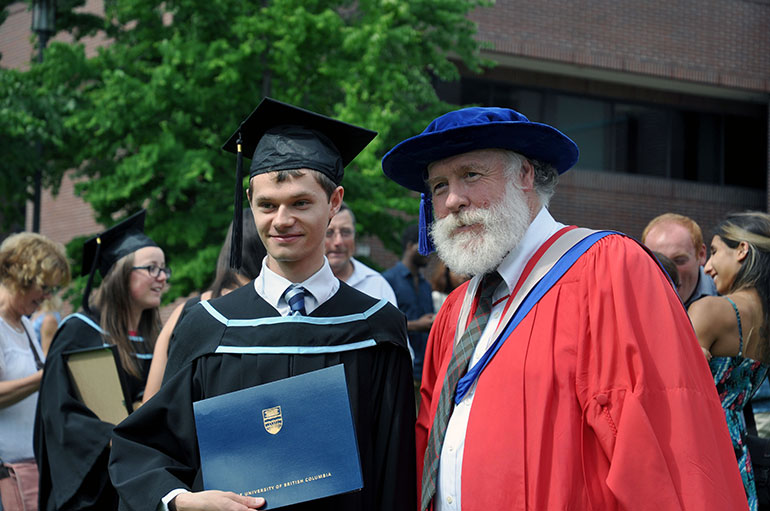 UBC student Raphael Nowak (left) poses with his mentor Ian Walker, professor of biology.