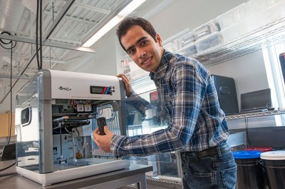 Hossein Montazerian, research assistant with UBC Okanagan's School of Engineering, demonstrates the artificial bone design that can be made with a 3D printer.