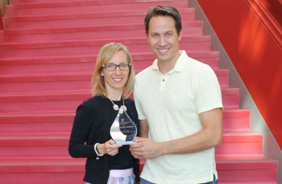 UBC Okanagan Partners for Life Program Champions Natalie Murdoch (School of Nursing) and Warren Brock (Southern Medical Program) with their Honouring Our Lifeblood national award from Canadian Blood Services.