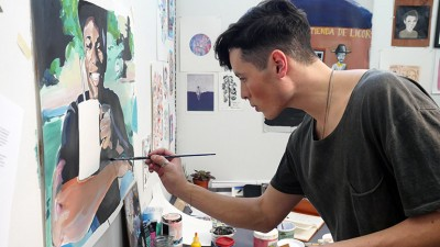 Benjamin Arcega working in his fourth-year studio, 2017 graduate of UBC Okanagan's Bachelor of Fine Arts program.