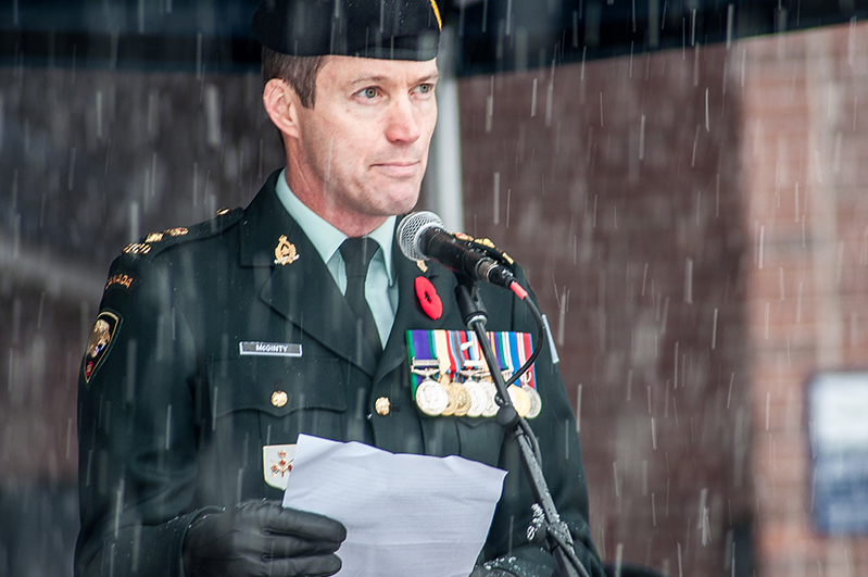 Lt.-Col. Mike McGinty delivers his Remembrance Day remarks