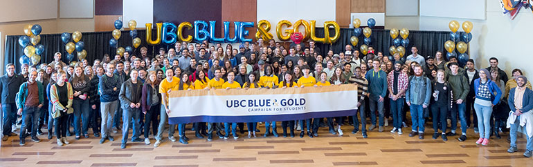UBC's Blue and Gold fundraising campaign for students kicked-off at the university on November 27 to a capacity-crowd.