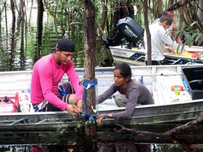 Researchers sample trees in the Amazon river while investigating the 20 million tonnes missing of atmospheric methane. Photo credit: Norbert Hertkorn