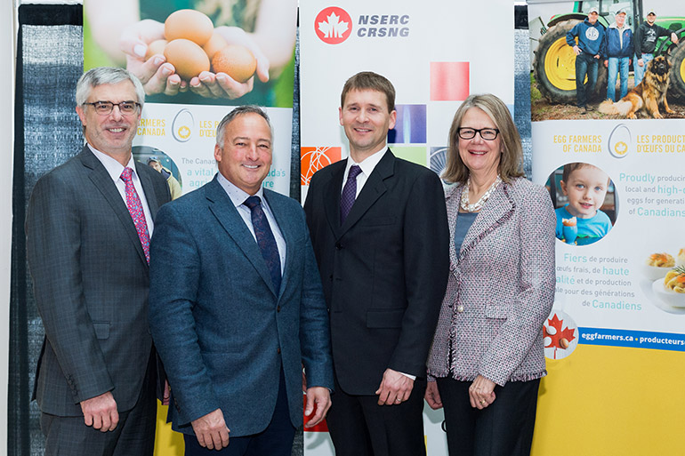 Marc Fortin, VP Research Partnerships at NSERC, Tim Lambert, CEO of Egg Farmers of Canada, Nathan Pelletier and UBC Okanagan's Deputy Vice-Chancellor and Principal Deborah Buszard at this week's funding announcement.