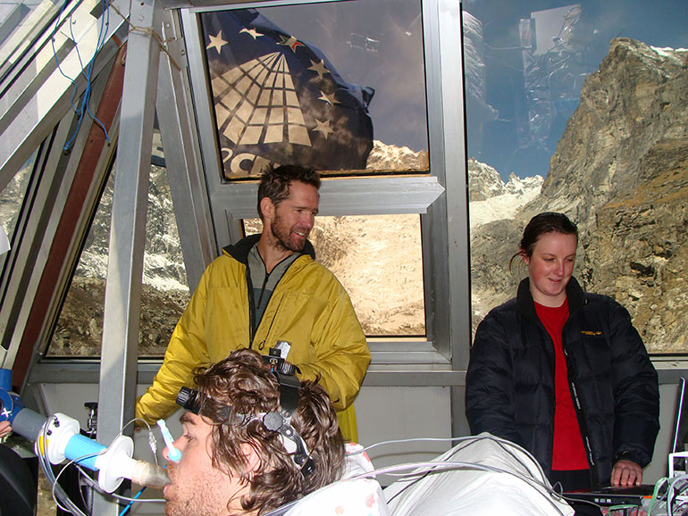 UBC Professor Phil Ainslie, Canada Research Chair in Cerebrovascular Physiology, conducts tests during the 2012 expedition to the Everest Pyramid Research Station.