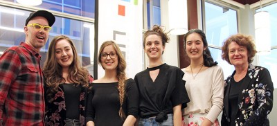 Finalists in the 2018 Okanagan Short Story Contest, from left: Assoc. Prof. Michael V. Smith, MFA student Victoria Alvarez (second place), MA IGS student Brittni MacKenzie-Dale (first place), Bethany Pardoe (winner, high-school category), Samantha Macpherson (third place) and contest judge Karen Hofmann.
