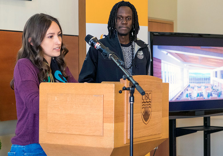Trophy Ewila, president of UBC Okanagan's student union, and third-year student Haley Seven Deers provide their prospective about the positive impact the new library space will have on students during today's funding announcement.
