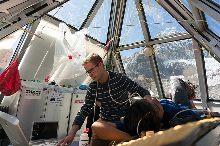 Mike Stembridge conducting tests at Everest's Pyramid Lab.