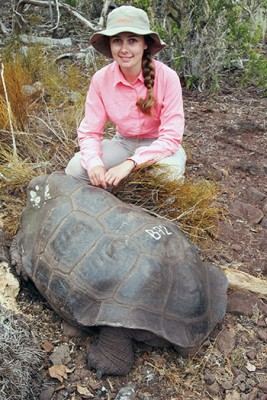 Evelyn Jensen studied a new generation of giant tortoises while earning her PhD at UBC Okanagan. Photo credit: Michael Russello