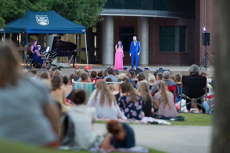 UBC Okanagan's courtyard provides the ideal setting for a summer evening concert.