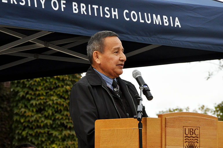 Grand Chief Stewart Phillip, ONA Chair, called the flag raising at UBC's Okanagan campus an honourable and historic day.