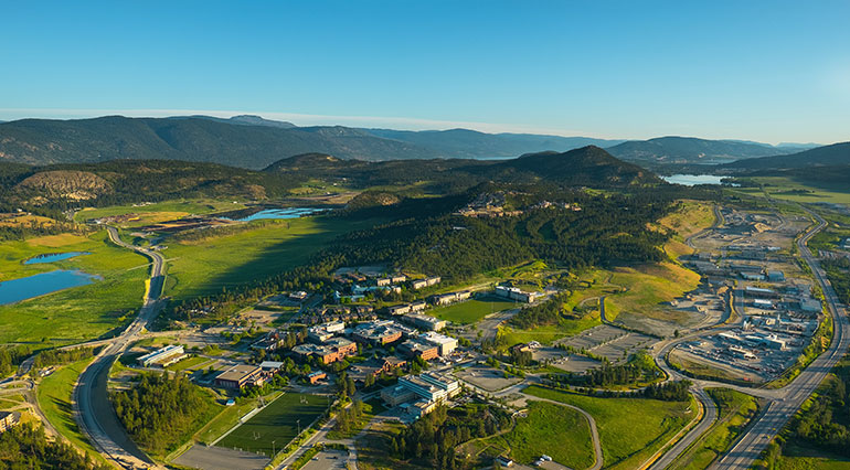 An aerial view of UBC Okanagan