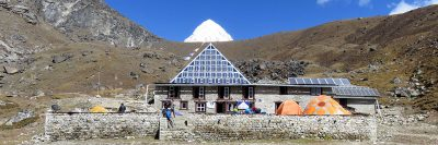 The Pyramid International Laboratory is located at an altitude of 5,050 metres on the Nepali side of Mt. Everest.
