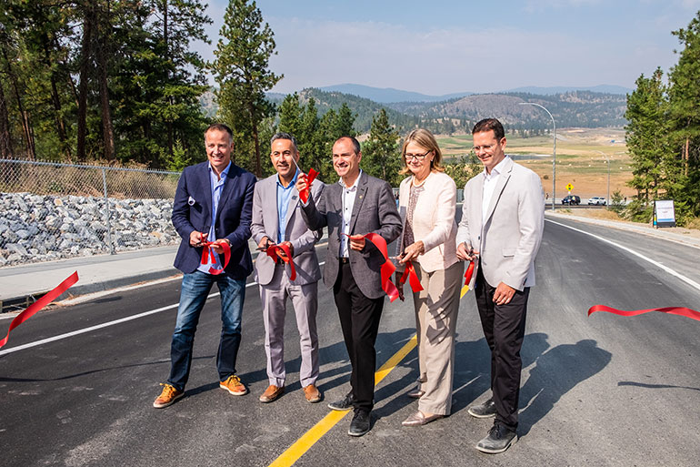 From left: Stephen Fuhr, MP for Kelowna—Lake Country; Colin Basran, Mayor of Kelowna; Norm Letnick, MLA for Kelowna-Lake Country; Deborah Buszard, Deputy Vice-Chancellor and Principal of UBC Okanagan; and Rob Einarson, Associate Vice-President Finance and Operations.