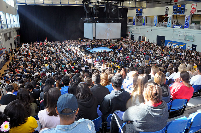UBC President Santa Ono addresses a packed gymnasium as he welcomes more than 2,400 first-year students to the Okanagan campus.