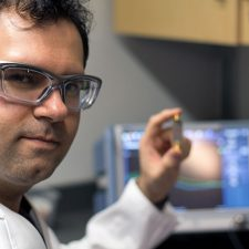 Mohammad Zarifi, an assistant professor at UBC Okanagan, shows his small biosensor that can be used to provides health care practitioners with a real-time diagnosis of a bacterial infection.