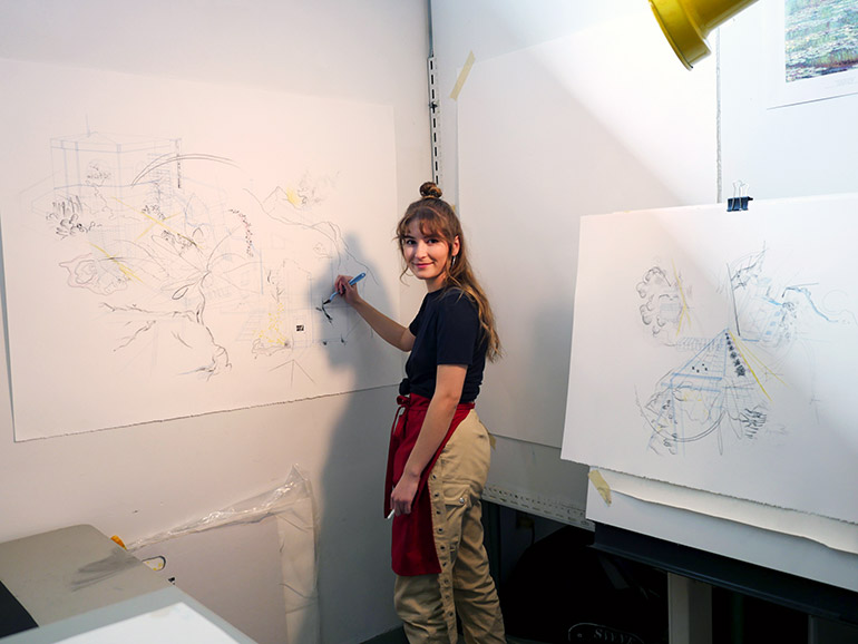 UBC Okanagan student Sarah Polak works in her studio preparing for the upcoming Bachelor of Fine Arts grad exhibition.