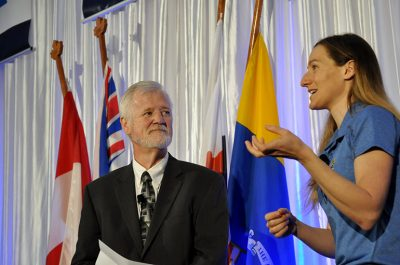 Host Pat Kennedy listens while Dr. Meghan Grant explains the up and down journey she endured on her way to becoming a gold medal cyclist for Canada.