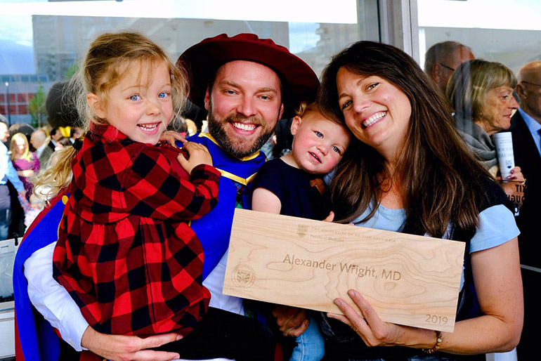 Alexander (Sandy) Wright graduates this week as the first UBC medical student to complete their MD/PhD at one of the Faculty of Medicine's distributed medical programs.