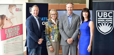 Announcing $1 million in funding for Supporting Survivors of Abuse and Brain Injury through Research (SOAR) are, from left, Kelowna-Lake Country MP Stephen Fuhr, UBC Deputy Vice-Chancellor and Principal Deborah Buszard, Professor of Health and Exercise Sciences Paul van Donkelaar and Kelowna Women's Shelter Executive Director Karen Mason.