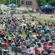 The annual opera under the stars event at UBC Okanagan draws a large crowd to UBCO's central courtyard.